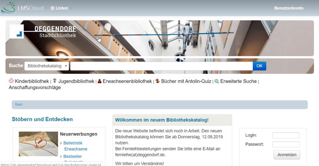 Zu sehen ist die Startseite des neuen Bibliothekskataloges der Stadtbibliothek Deggendorf.